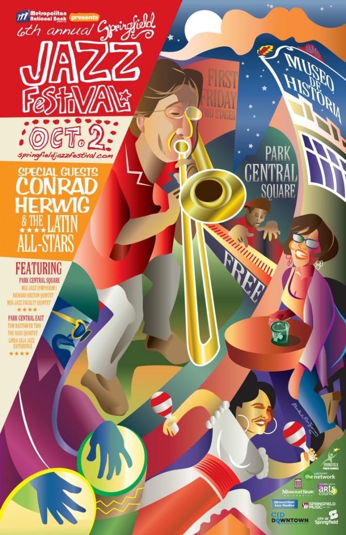 Springfield, Missouri, Jazz, Festival, Poster, 2015, trombone, conrad, herwig, latin, colorful, music