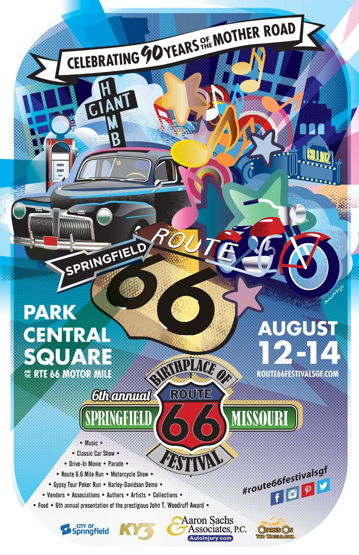 Route 66, birthplace,poster,festival,springfield,missouri,historic,car,motorcycle